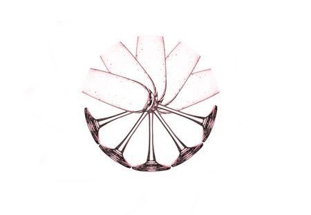 winetasting: wine glass , empty wine glass set on white background