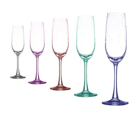 chardonnay: color full empty wine glass set on white background Stock Photo