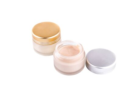 conceit: Face cream box, White Matte Glass Doublewall Jar With Plastic Lid