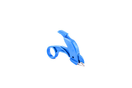 remover: Deep blue staple remover on white background