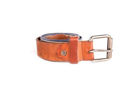 chrome man: vintage leather belt on white, Leather belt for men on white background