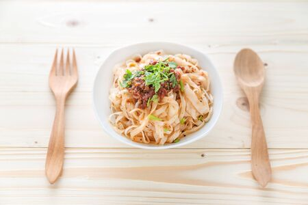 rice noodles: rice noodles with spicy sauce, thai northern spicy noodle, boiled Thai rice vermicelli