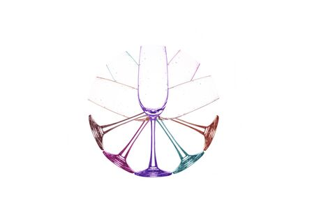 winetasting: color full empty wine glass set on white background Stock Photo