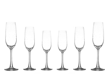 winetasting: empty wine glass set on white background