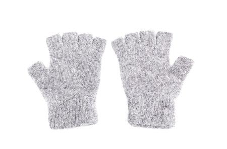 fingerless gloves: Wool fingerless gloves, isolated on white, Pair of Fingerless Gloves