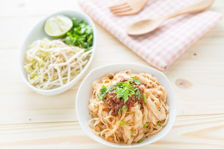 rice noodles: Rice noodles with spicy sauce, close up thai northern spicy noodle Stock Photo