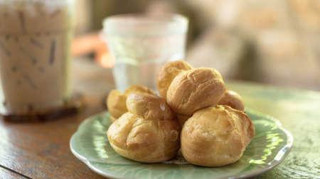 puffs: Fresh Mini Cream Puffs, Cream puffs Stock Photo
