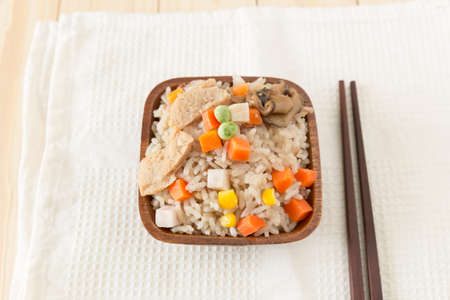 nourish: rice cooked with vegetables, starving vege rice, vegetarian cereal food Stock Photo
