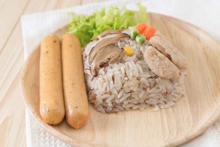 nourish: rice with agricultural protein and vegetables,vegetarian sausage - vegetarian festival