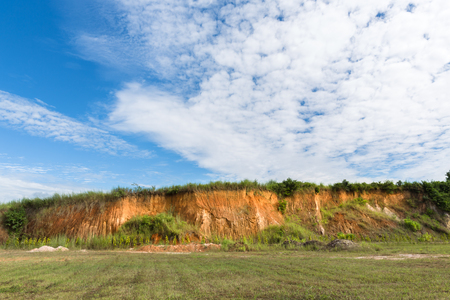 soil: Soil structure, Wall cliff - clay brown soil and grass, Soil cross section, green grass and blue sky
