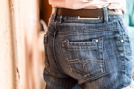 female butt: female butt in jeans, female hips in jeans