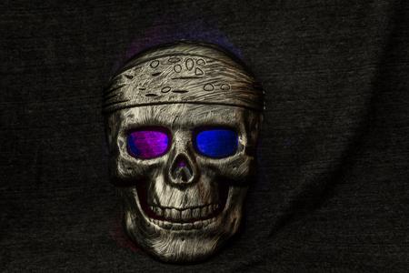 skull mask: still life concept human skull mask on dark background, Halloween background