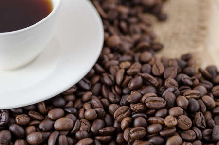selective focus: coffee beans, coffee beans background- Selective focus