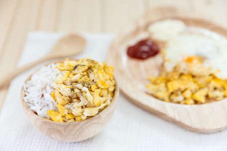 scrambled: scrambled egg on rice, rice with scrambled eggs Stock Photo