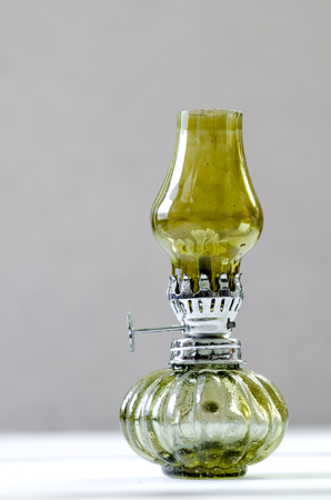 oil lamp: green oil lamp, Vintage kerosene lamp