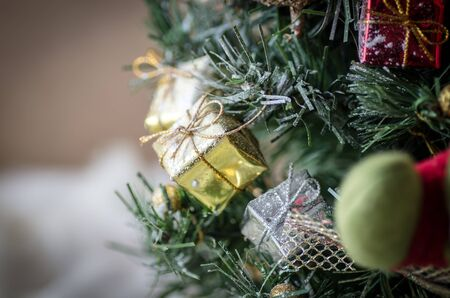 tree decorations: gifts under the tree for christmas day, christmas tree and presents