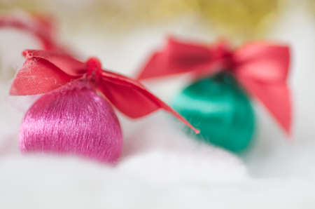 cotton wool: Christmas balls in the cotton wool, Christmas decorations
