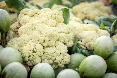 vitamines: group of cauliflower, fresh cauliflower for sale at a market