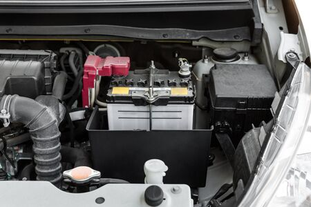 engine room: battery of a car, battery car in engine room
