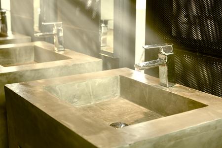 handbasin: Commercial bathroom, Interior house, elegant wash basins in stylish bathroom  - vintage effect style pictures