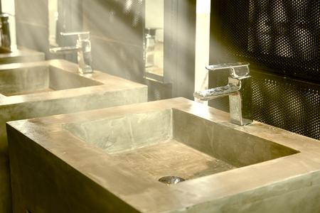 basins: Commercial bathroom, Interior house, elegant wash basins in stylish bathroom  - vintage effect style pictures