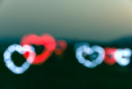 corazon: defocused blinking heart shaped lights, Valentine Hearts Abstract Background, bokeh - vintage toned