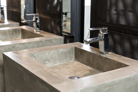 Commercial bathroom, Interior house, elegant wash basins in stylish bathroom - vintage effect style pictures