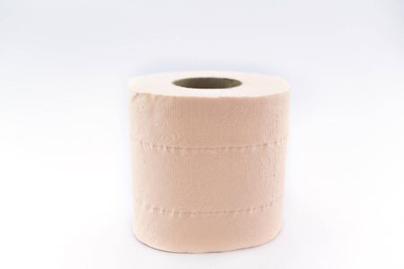 Simple toilet paper on white background - selective focus