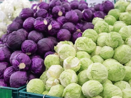 purple and green cabbage for sale in the market Banco de Imagens