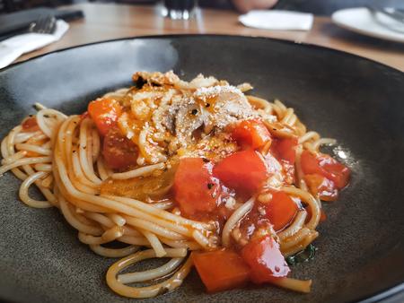 pasta spaghetti with tomato sauce - Italian traditional pasta : vegetarian food concept