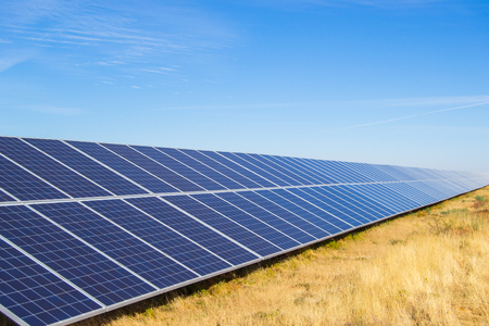 Solar panel array on a renewable energy plant
