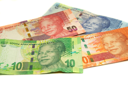 Rand currency from South Africa isolated on white