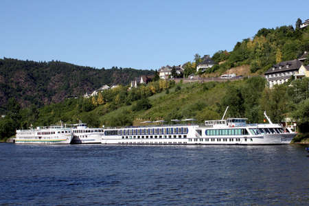 Cruise shiips are on the Moselle by Cochem in Germany photo
