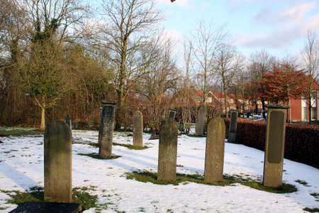 Tombstones at the old cemetery in Wedde  The Netherlands  photo