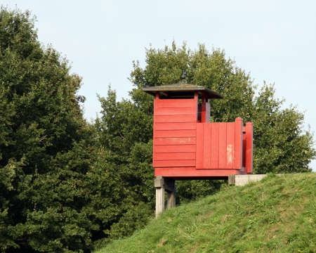 guard house: Wooden guard house in the Fortress Bourtange Stock Photo
