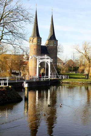 east gate: City Gate East Gate and drawbridge from 14th century in the city of Delft. Netherlands