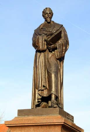 delft: Statue of Hugo Otius (Hugo Grotius) in the city of Delft. Netherlands Stock Photo