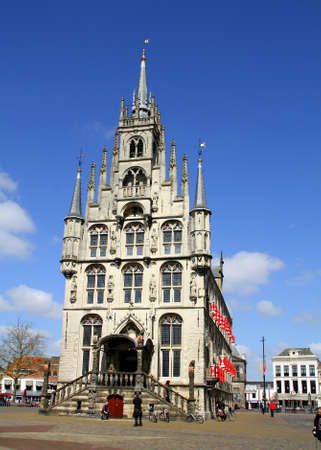 typically english: Gouda.April-20-2016. City Hall from 1450 in the city of Gouda. The Netherlands