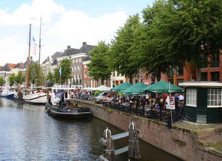 Groningen. August-06-2015. Outdoor terrace on the Hoge der Aa in the city of Groningen. the Netherlands