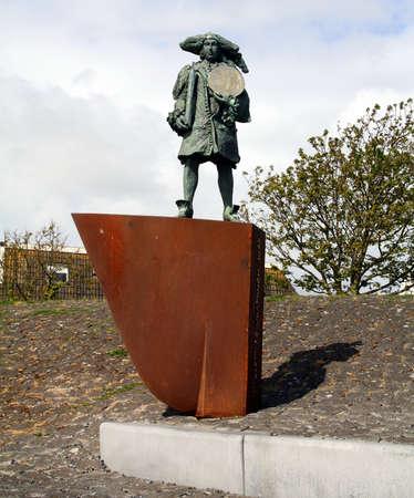 Vlieland. May-15-2016. Sculpture of the sailer Willem de Vlamingh on the island Vlieland. the Netherlands Editorial