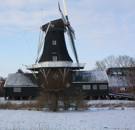 The wood and grain mill The Fram from 1867 in Woltersum. the Netherlands Stock Photo