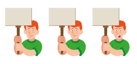 Set flat cartoon characters white redhead man with different emotion people which keep a sign without slogan take part in protest for freedom rights people. Modern vector illustration style Vectores
