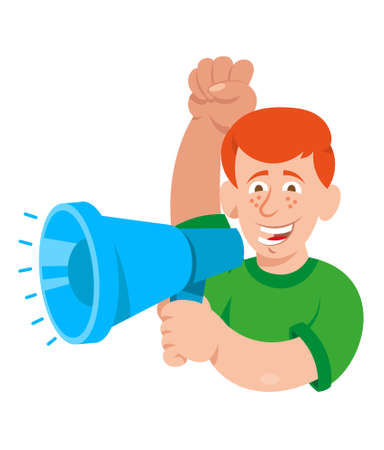 One white young smile redhead man which keep megaphone and shout take part in protest for freedom rights people. Vector icon isolated white background illustration cartoon character flat design.