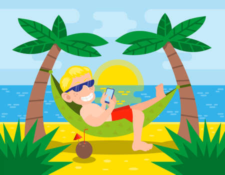 Happy cute young man underlie on hammock watch telephone outside tropical island near ocean. Palms cocktails  summer hot sun sunset enjoy relax beach Vector modern style illustration cartoon character