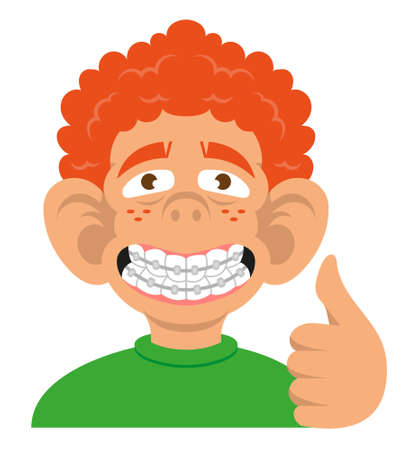 Head cute smile black young boy show braces teeth he is really happy and show like. Vector modern flat style cartoon character illustration Isolated white background.dentist concept dental. Illustration
