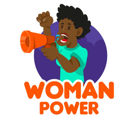 One black young woman power feminist which keep megaphone and shout take part in protest for freedom rights women. Vector icon isolated white background illustration cartoon character flat design.