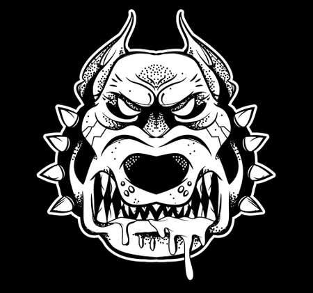 Graphic very big angry dangerous fighter security dog that shows his big teeth and annoyed to growl. Black white design illustration modern vector style character for print isolated white background.