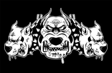 Three headed Cerberus dog that shows their big teeth and growls. Black white design illustration modern vector style character for print isolated white background.