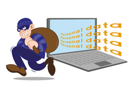 Cartoon character dangerous criminal insidious thief hacker dressed in dark mask running big bag stolen personal date with laptop. Internet fraud. Modern vector style illustration flat design.