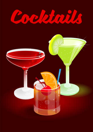 Dark cherry abstract background poster with fresh ice frozen alcoholic cocktails Old Fashioned Manhattan Daiquiri advertising for business bar restaurant party beach club Modern vector illustration Illustration